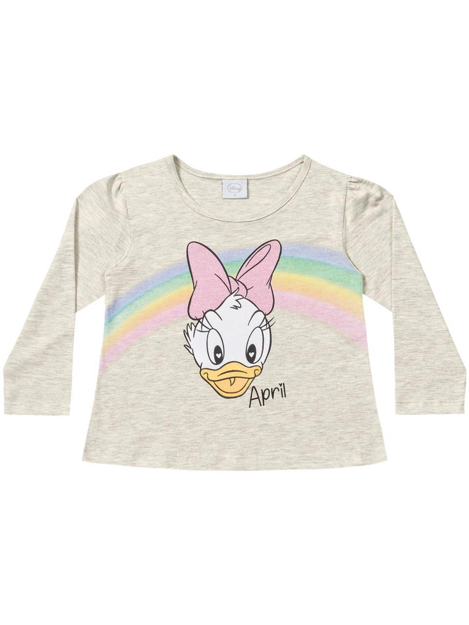Blusa infantil feminina manga longa Margarida da Disney