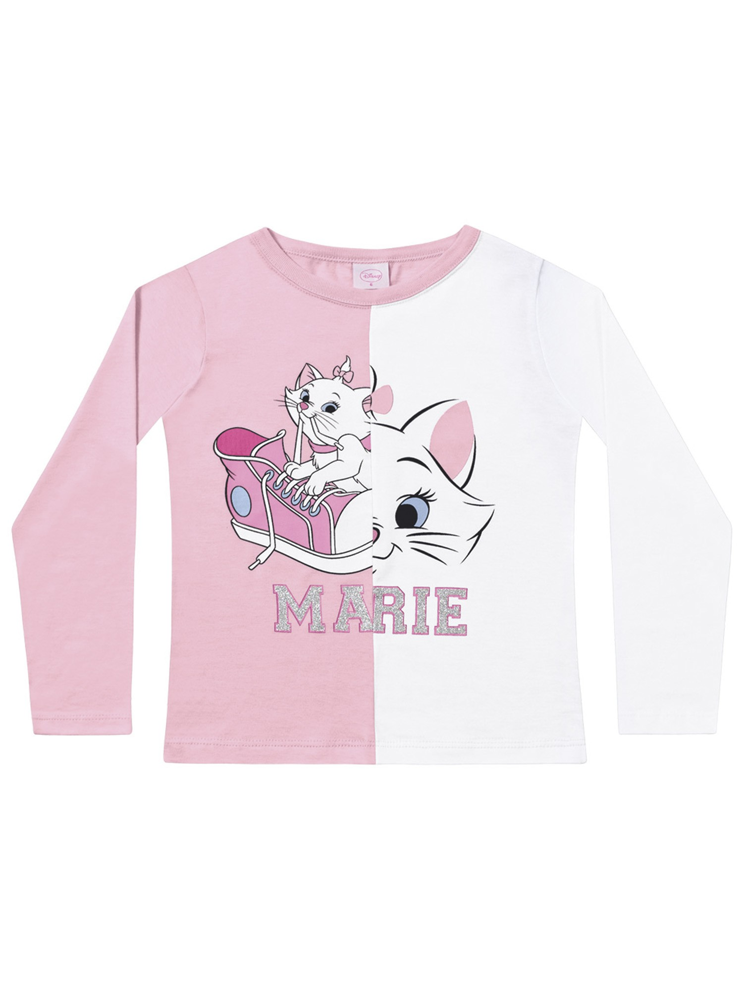 Blusa infantil feminina manga longa da Gatinha Marie - Disney Fakini