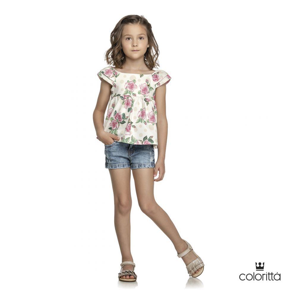 Blusa infantil feminino em poá e  rosas Coloritta