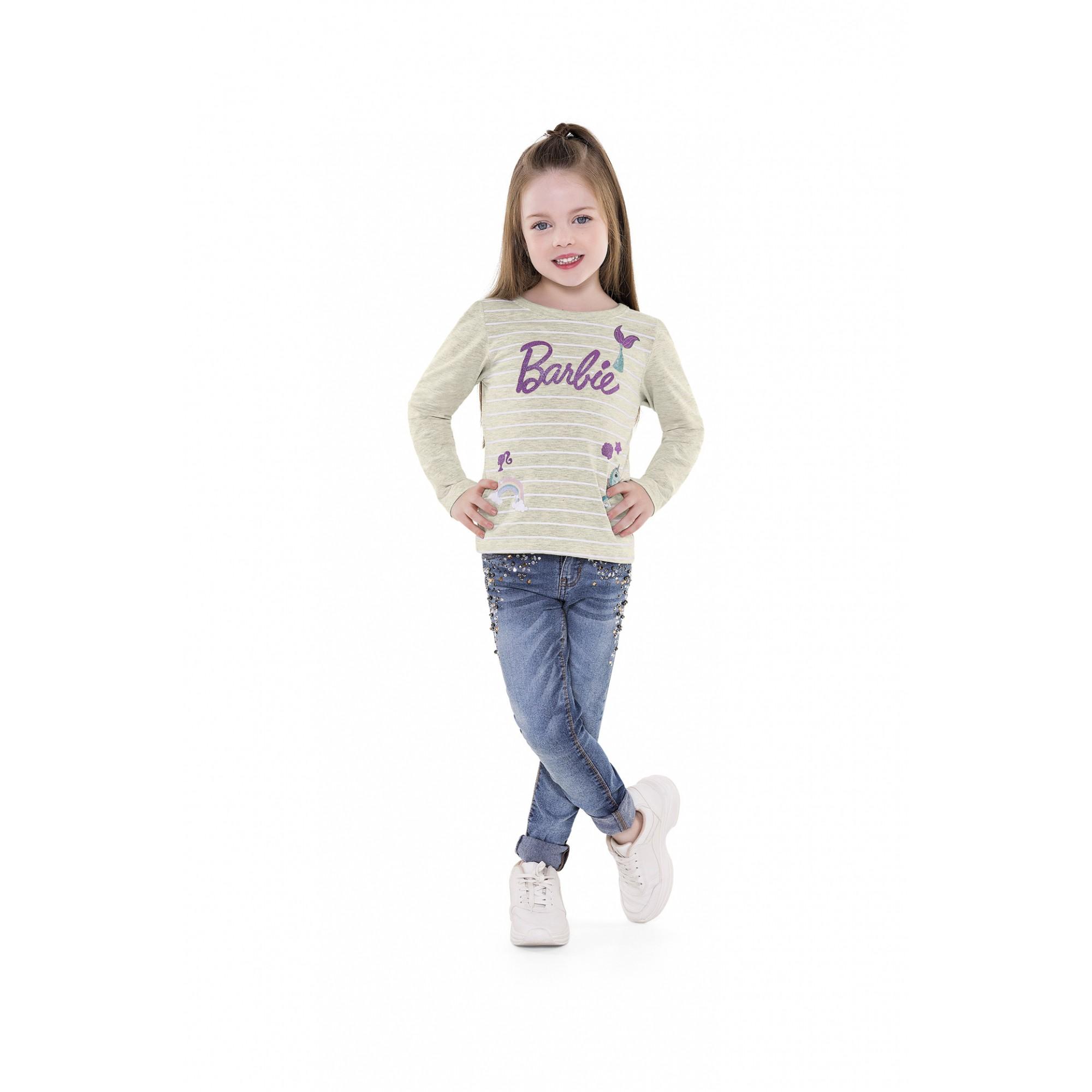 Blusa infantil feminina manga longa da Boneca Barbie - Dream Topia