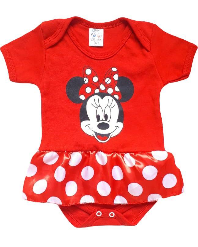 Body infantil divertido para bebê da Minnie vermelho