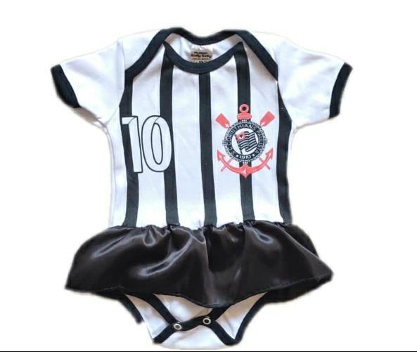 Body infantil divertido para bebê do Corinthians menina