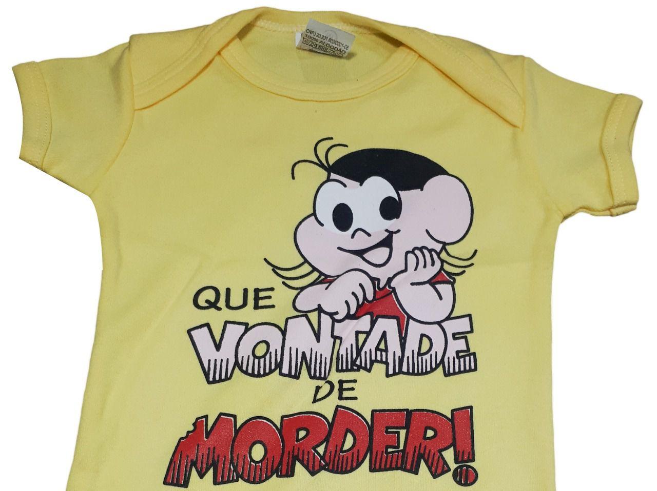 """Body infantil divertido para bebê Magali amarelo """"Que vontade de Morder'"""