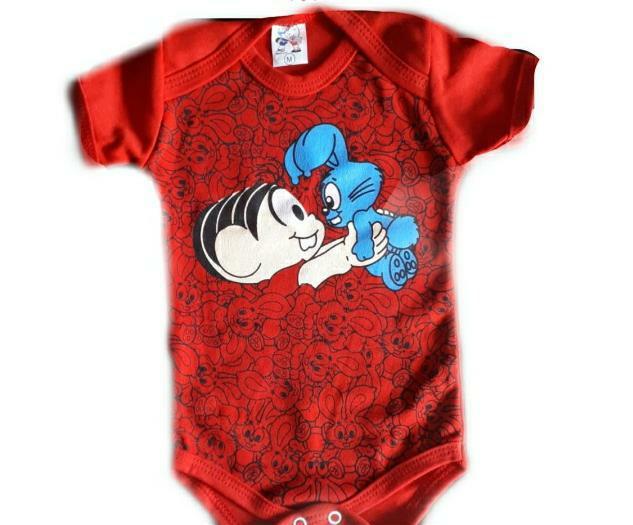 Body infantil divertido para bebê Mônica vermelho