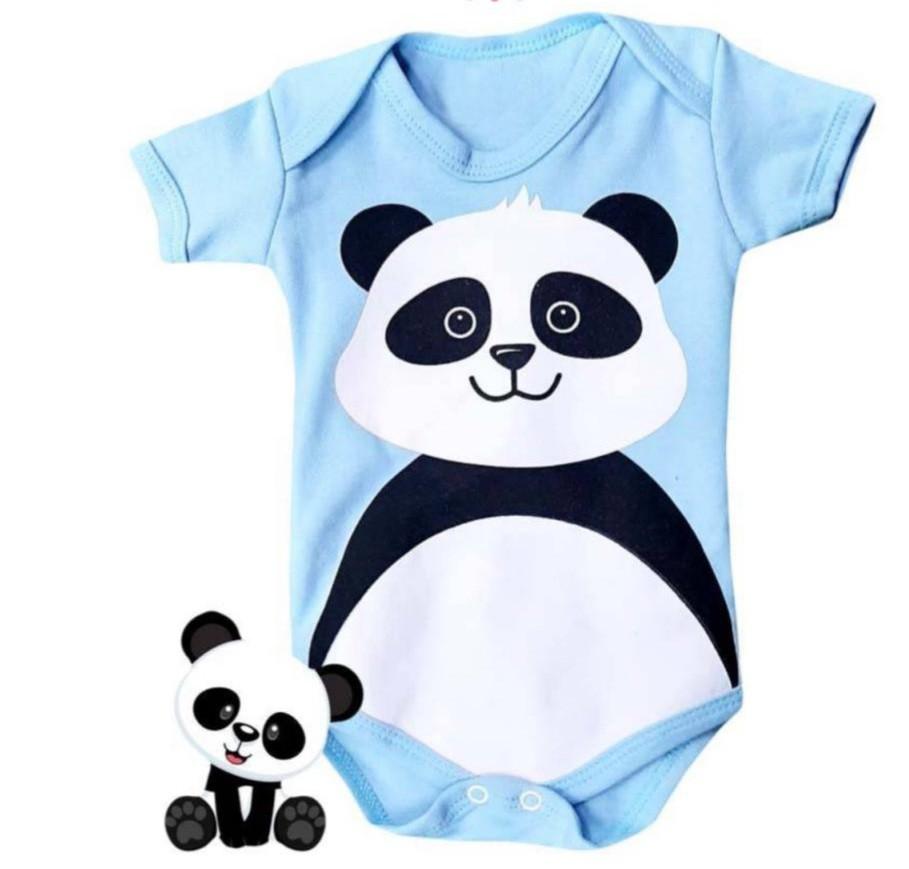 Body infantil divertido para bebê Panda azul