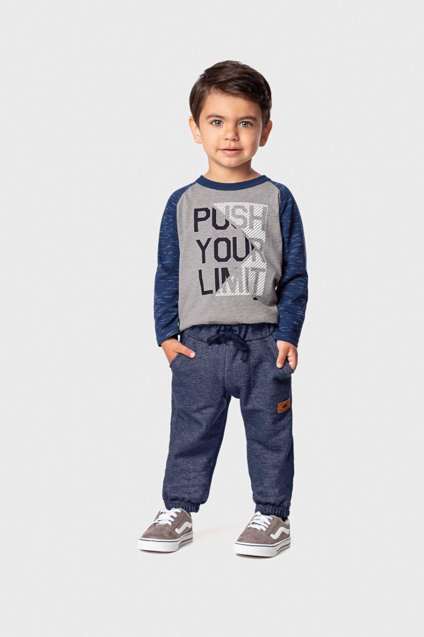 Calça infantil masculina em moletom jeans Marlan