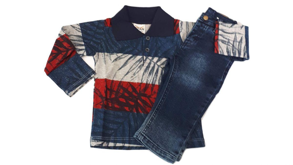Camisa pólo de bebê manga longa para menino estampada