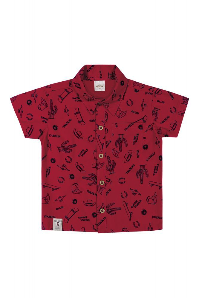 Camisa social infantil masculina estampada Elian