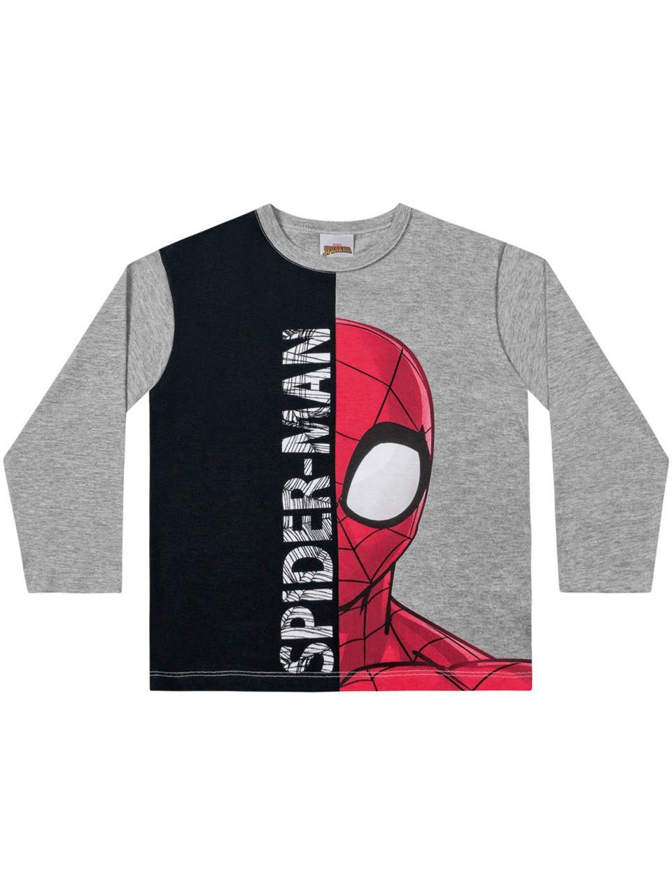 Camiseta infantil manga longa Homem Aranha - Marvel Fakini
