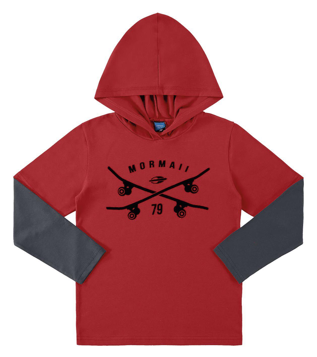 Camiseta infantil masculina manga comprida e com capuz Mormaii