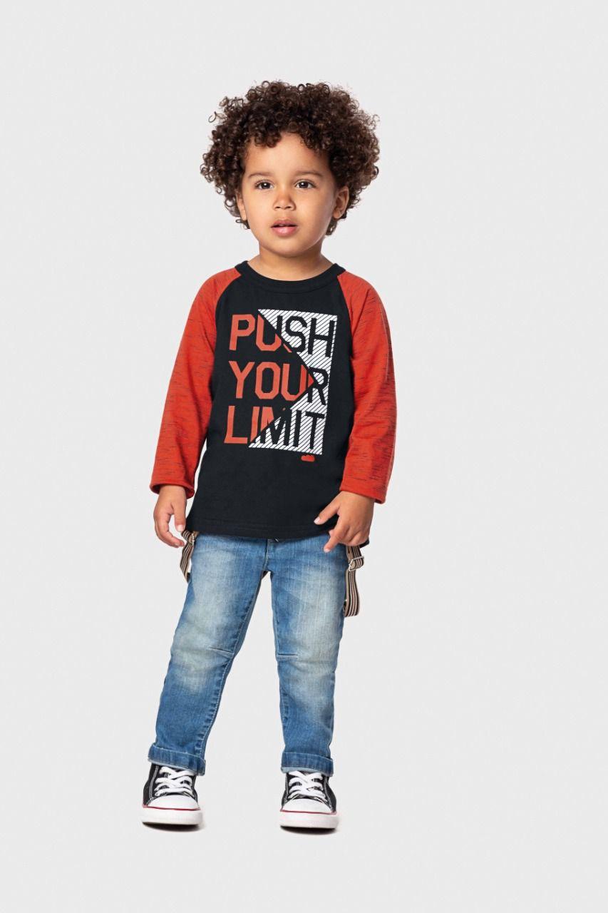 Camiseta infantil masculino manga comprida Vá até o limite Marlan