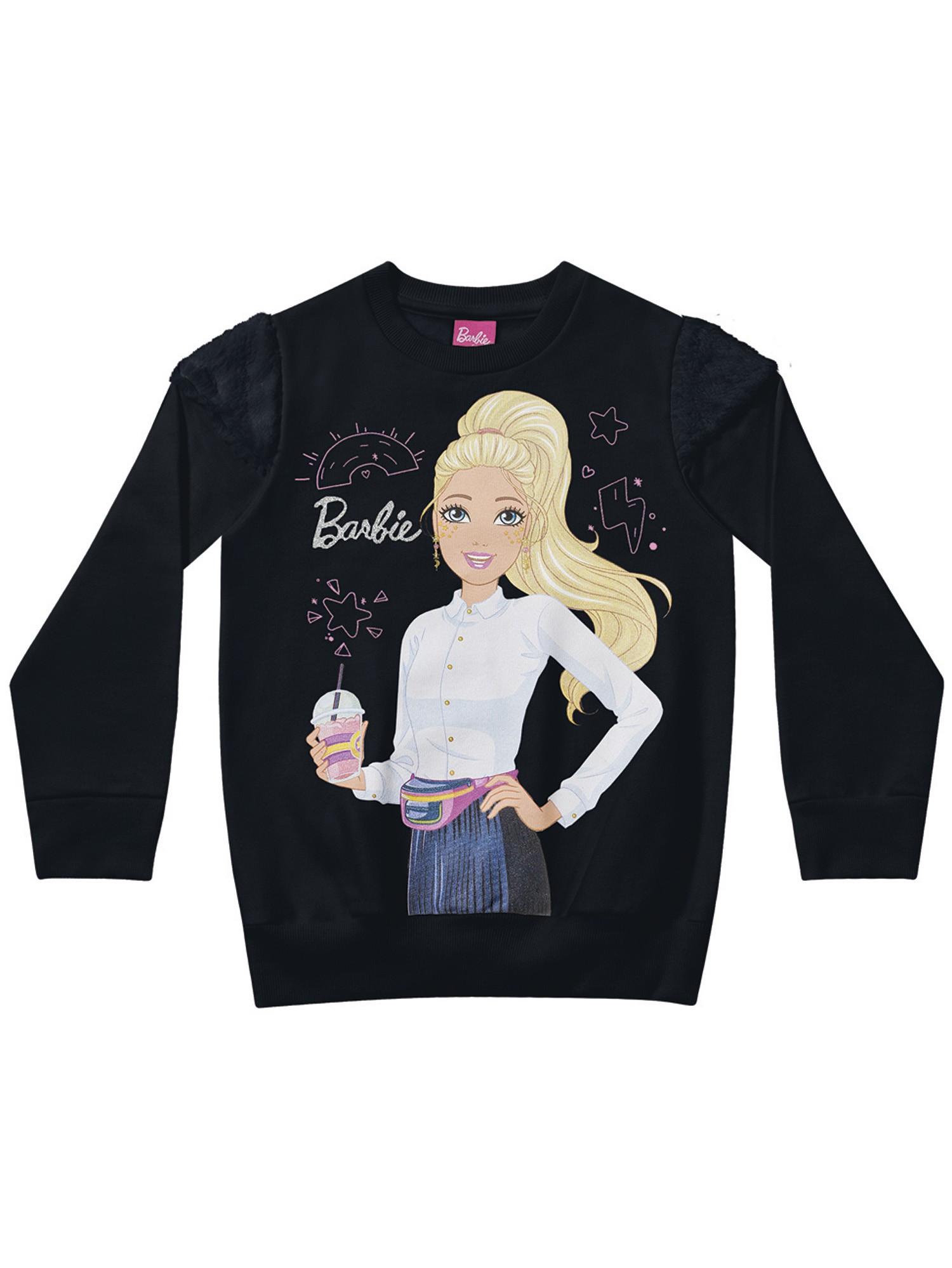 Casaco infantil feminino em moletom da Barbie - Disney Fakini