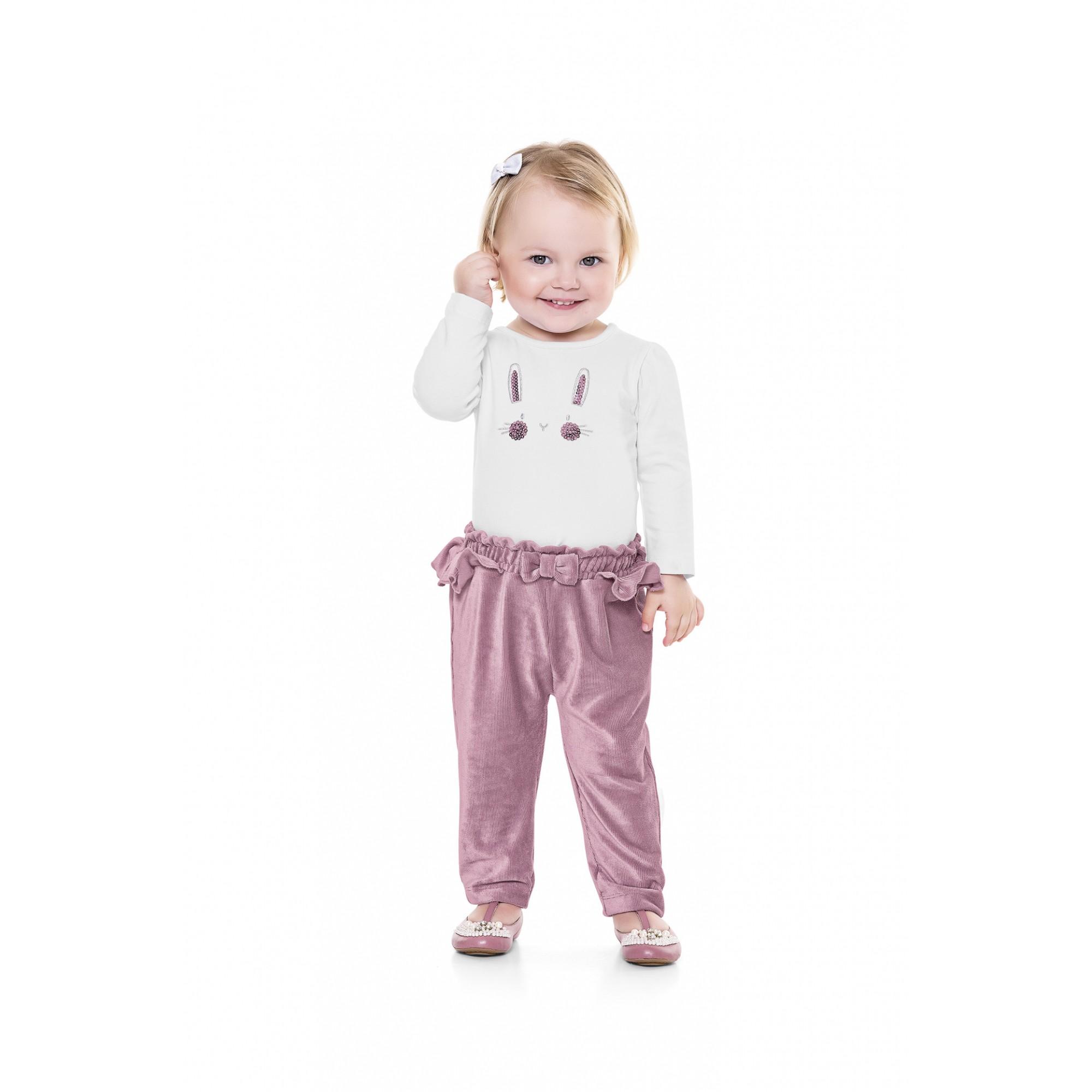 Conjunto infantil feminino para bebê Calça aveludada e Blusa manga longa Playground