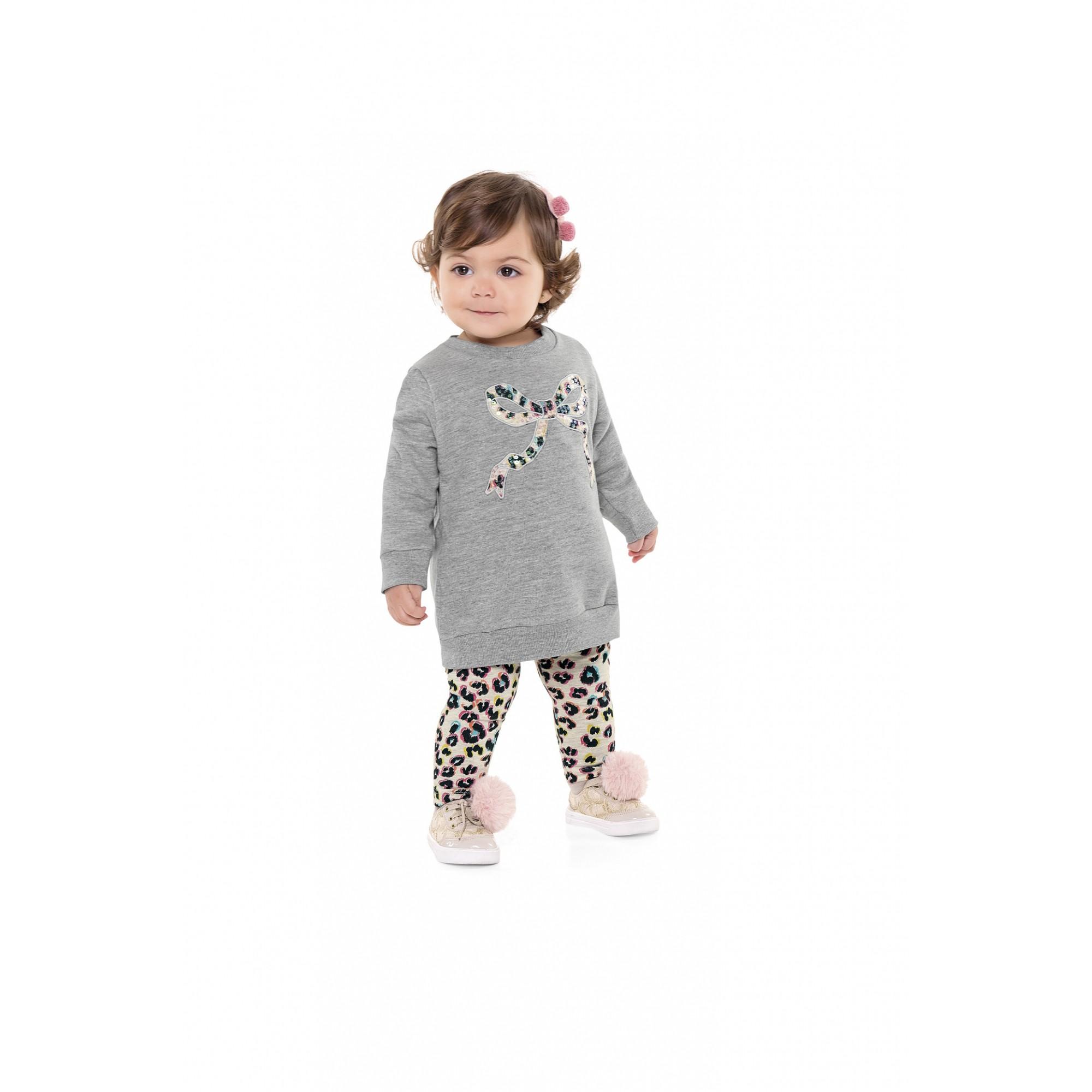 Conjunto infantil feminino para bebê Casaco e Calça Legging Animal Print - Fakini