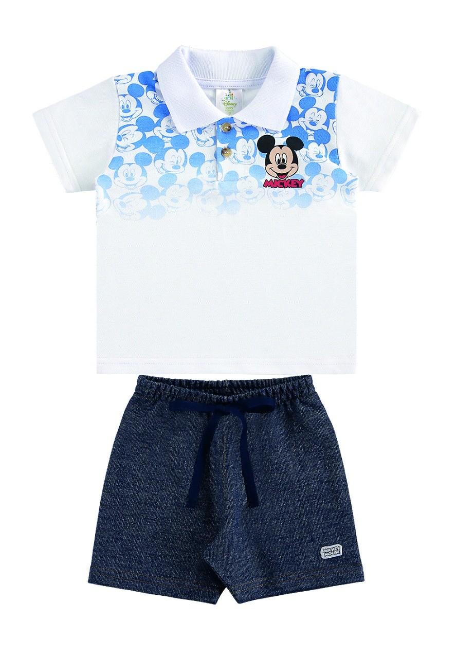 Conjunto infantil de bebê menino camisa pólo e bermuda Mickey - Marlan