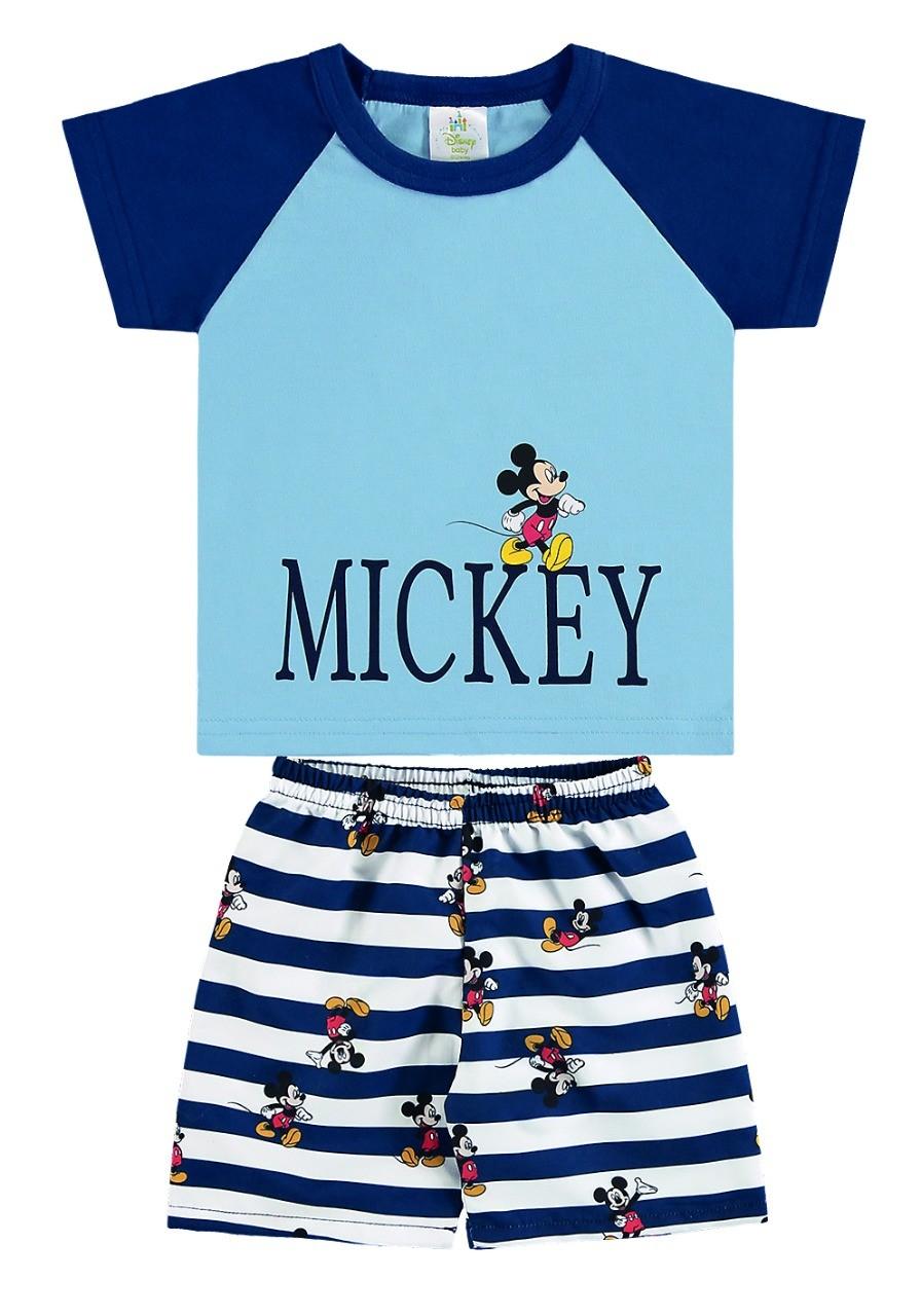 Conjunto infantil de bebê menino camiseta e bermuda listrada Mickey - Marlan
