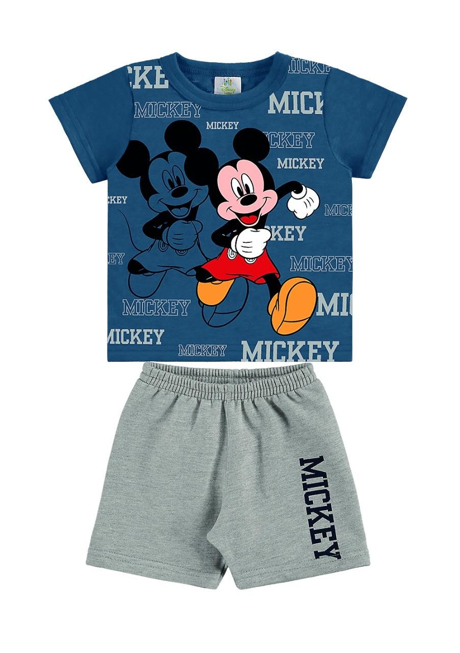 Conjunto infantil de bebê menino camiseta e bermuda Mickey - Marlan