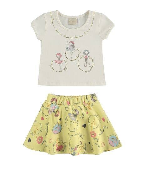 Conjunto infantil de menina amarelo Milli e NIna