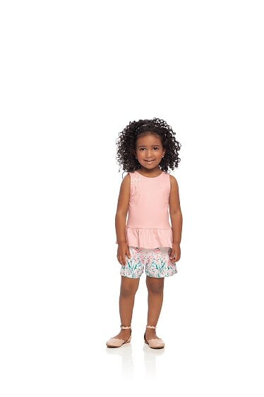 Conjunto de verão Blusa em cotton e Shorts  infantil de menina Milli & Nina