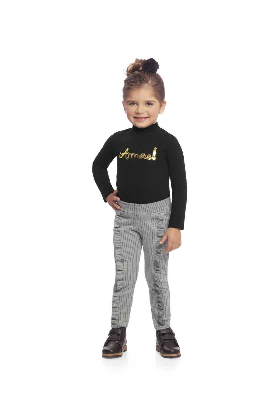 Conjunto infantil feminino de inverno Blusa em cotton e calça em malha risca de giz Milli & Nina