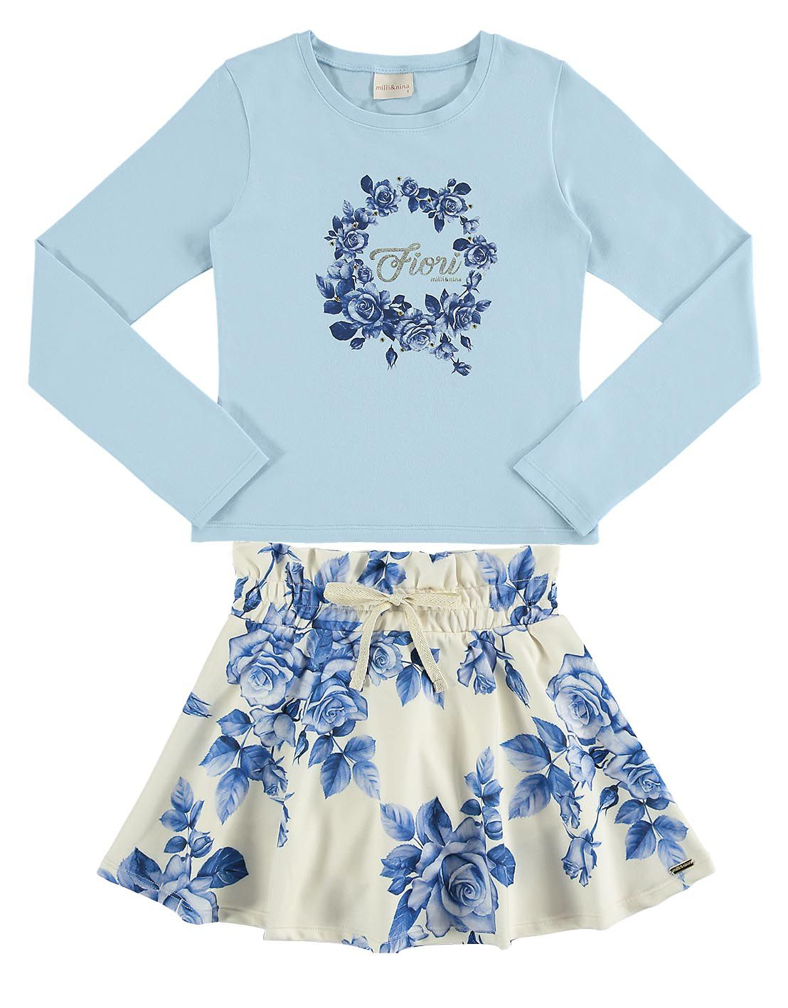 Conjunto infantil feminino Blusa em cotton e Saia florida azul Milli & Nina