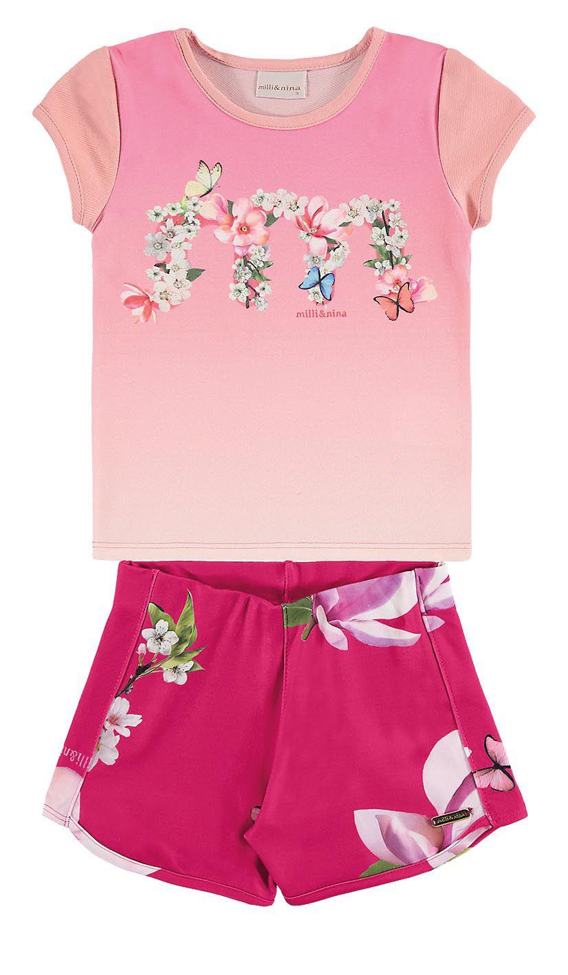 Conjunto infantil feminino Blusa em cotton e shorts florido Milli & Nina