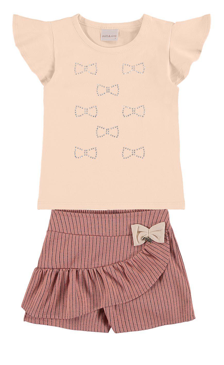 Conjunto infantil feminino Blusa em cotton e Shorts Saia risca de giz Milli & Nina