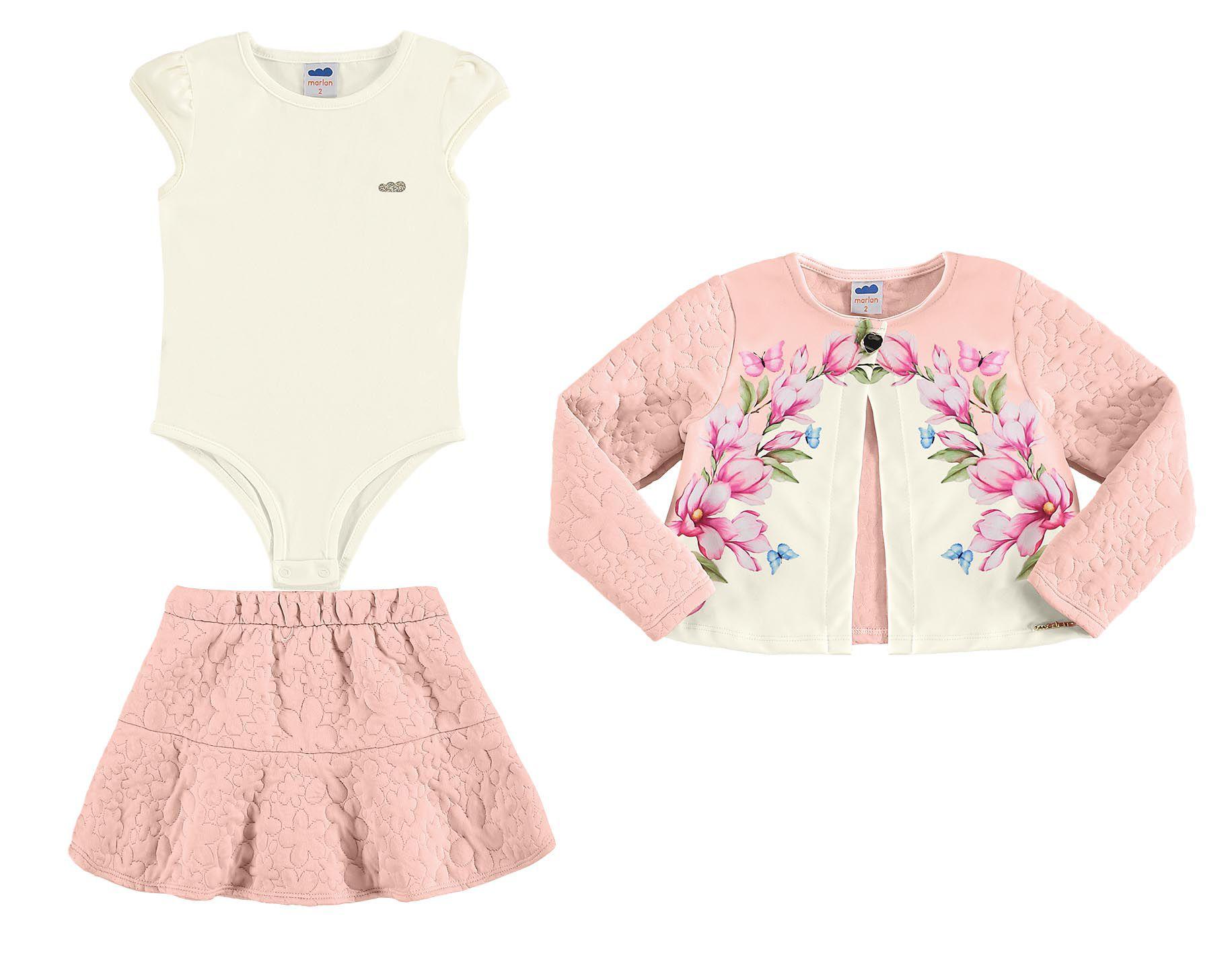 Conjunto infantil feminino Body em cotton com Casaco e saia Marlan
