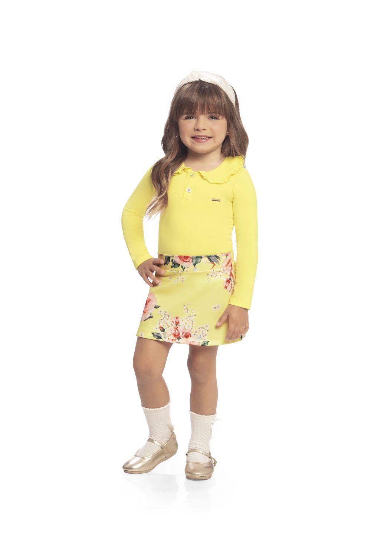 Conjunto infantil feminino Body em Cotton e Saia Milli & Nina