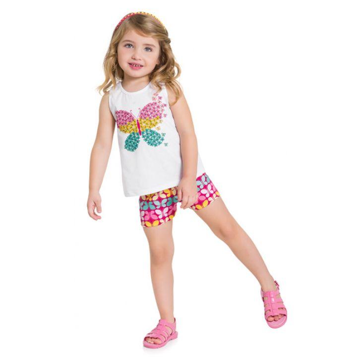 Conjunto infantil feminino borboleta colorida Kyly