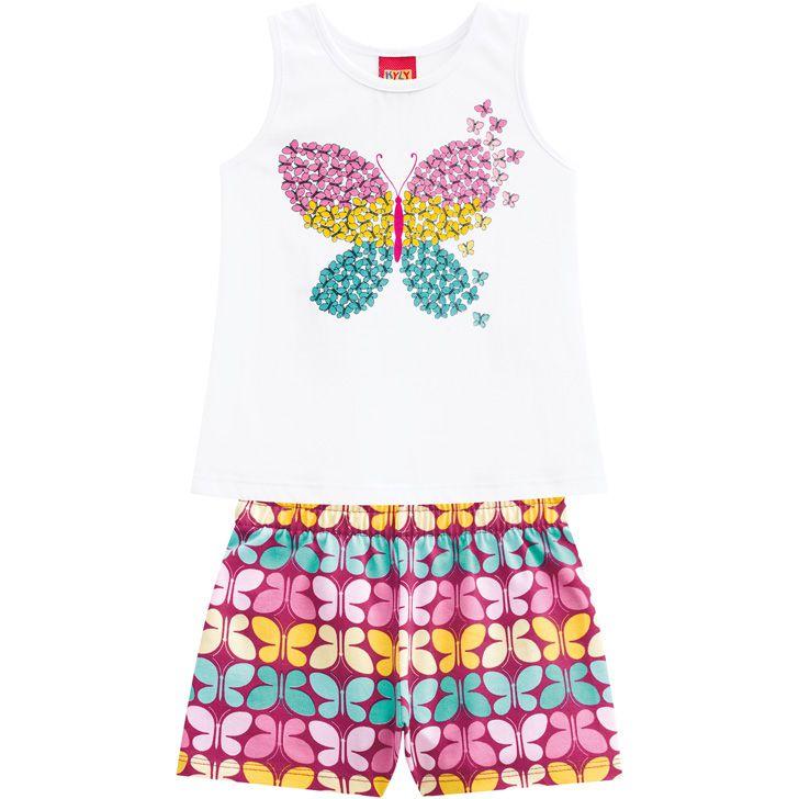 Conjunto verão infantil feminino borboleta colorida Kyly