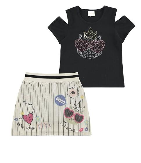 Conjunto infantil feminino com blusa e saia short Milli & Nina