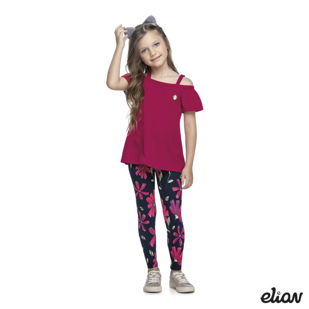 Conjunto infantil feminino com calça comprida Elian
