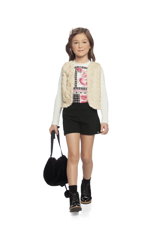 Conjunto infantil feminino de 3 peças Blusa, Colete e shorts Milli & Nina