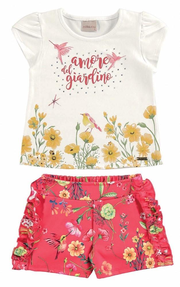 Conjunto infantil feminino de verão estampado Amore Del Giardino Milli & Nina