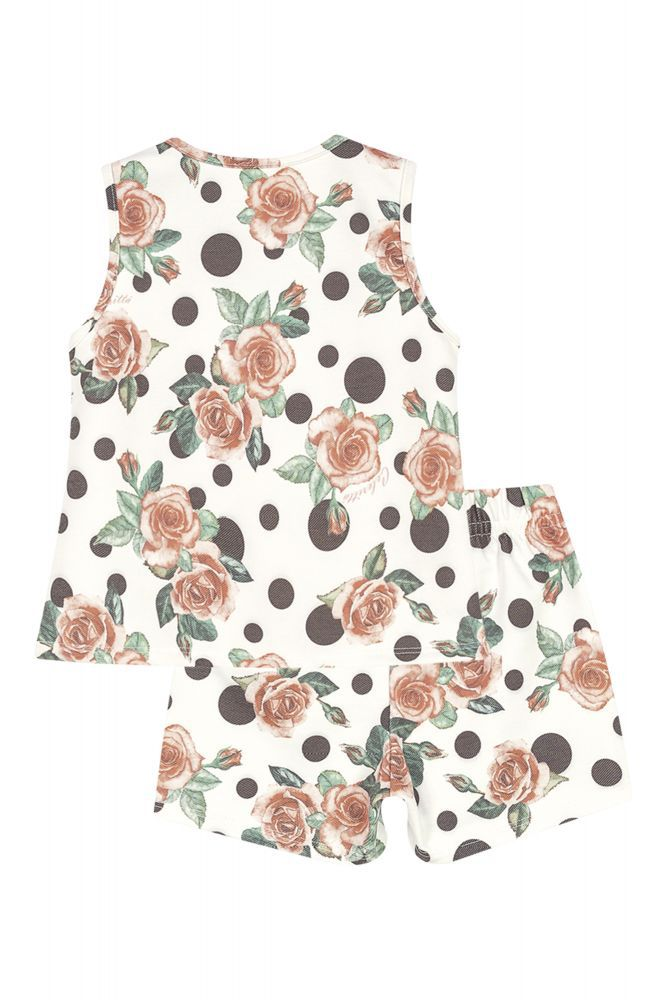 Conjunto infantil feminino em poá e rosas Colorittá