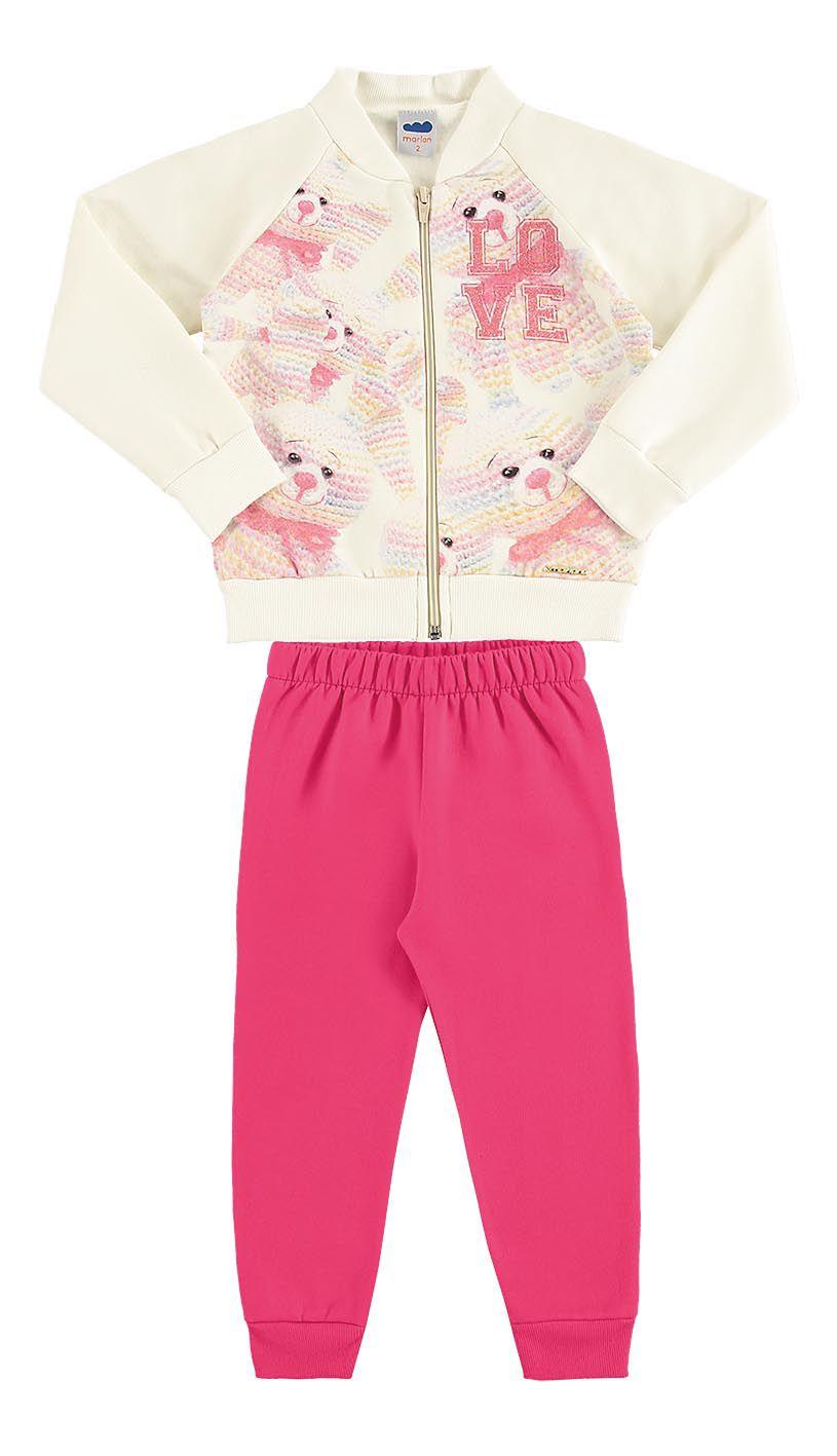 Conjunto infantil feminino jaqueta e calça em moletom Marlan