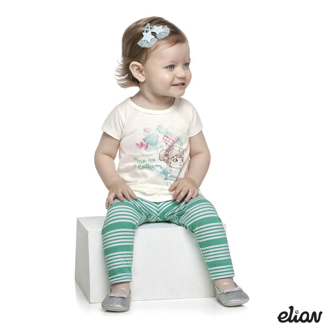 Conjunto infantil feminino para bebê rosa Elian