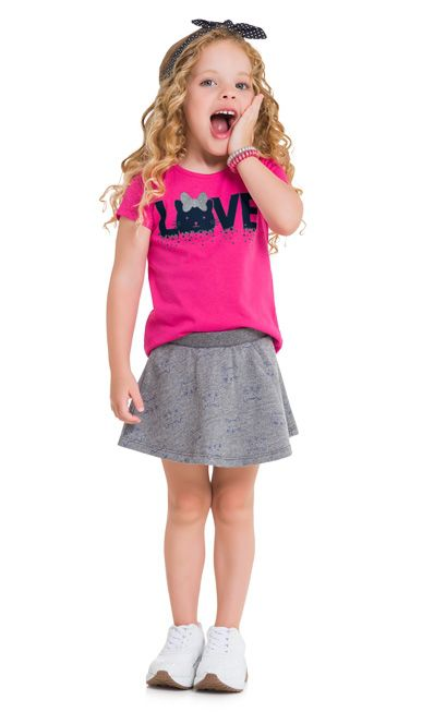Conjunto infantil feminino saia com short embutido Gata Love Kyly
