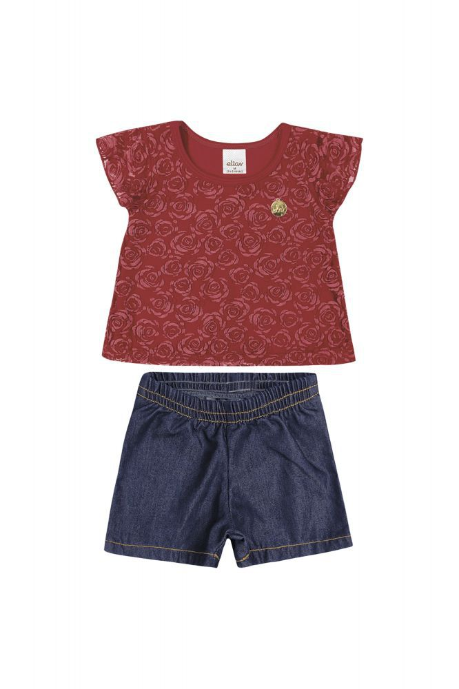 Conjunto infantil feminino short e blusa Elian