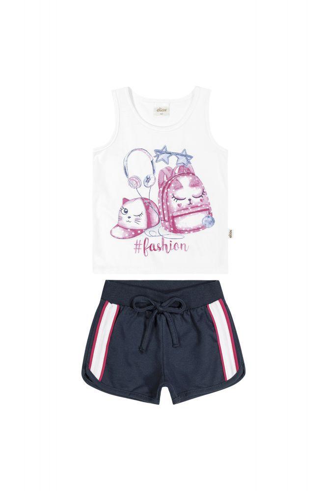 Conjunto infantil feminino shorts e regata Elian