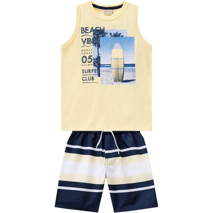 Conjunto infantil masculino Beach Vibes amarelo Milon