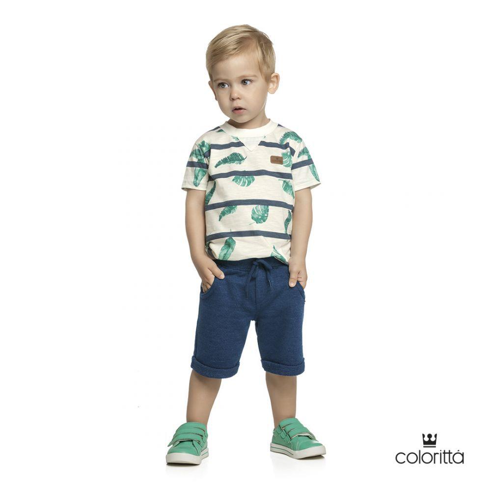 Conjunto infantil masculino bermuda  em moletom Coloritta