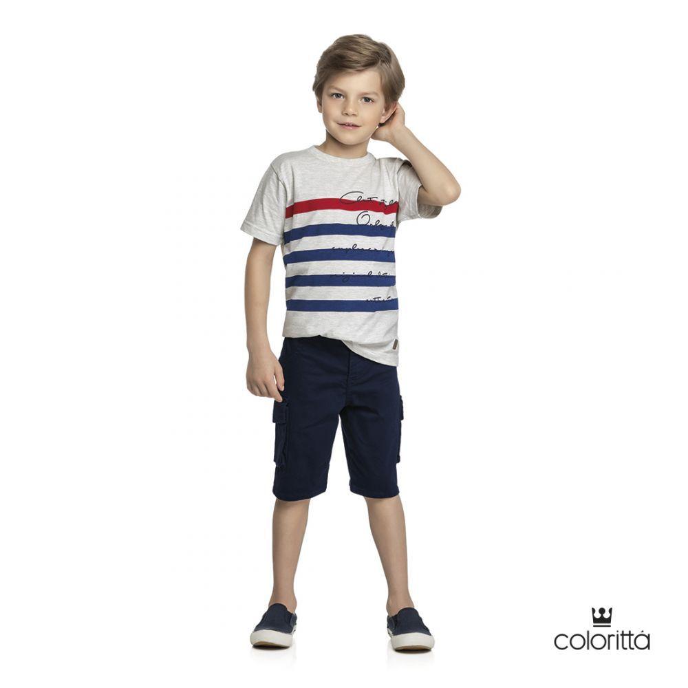Conjunto infantil masculino  bermuda em sarja Coloritta