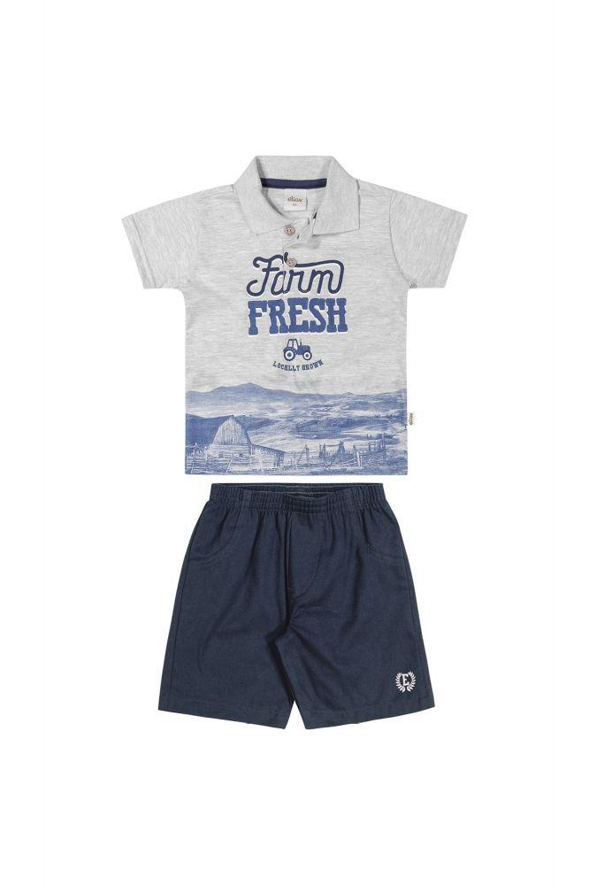 Conjunto infantil masculino camisa pólo e bermuda Elian