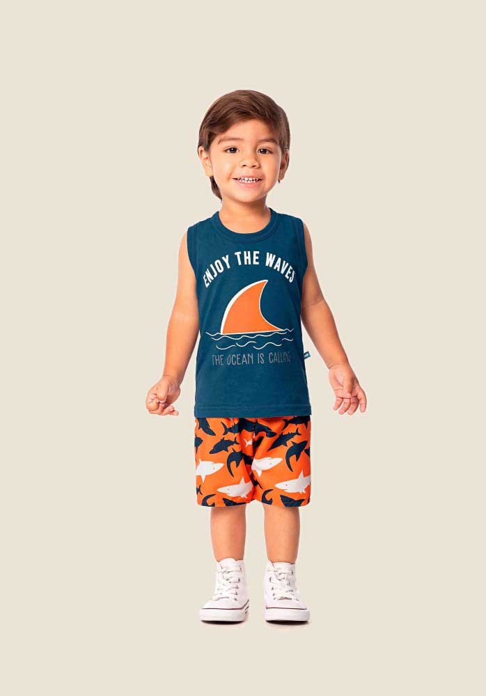 Conjunto infantil masculino de verão Enjoy the wave Marlan