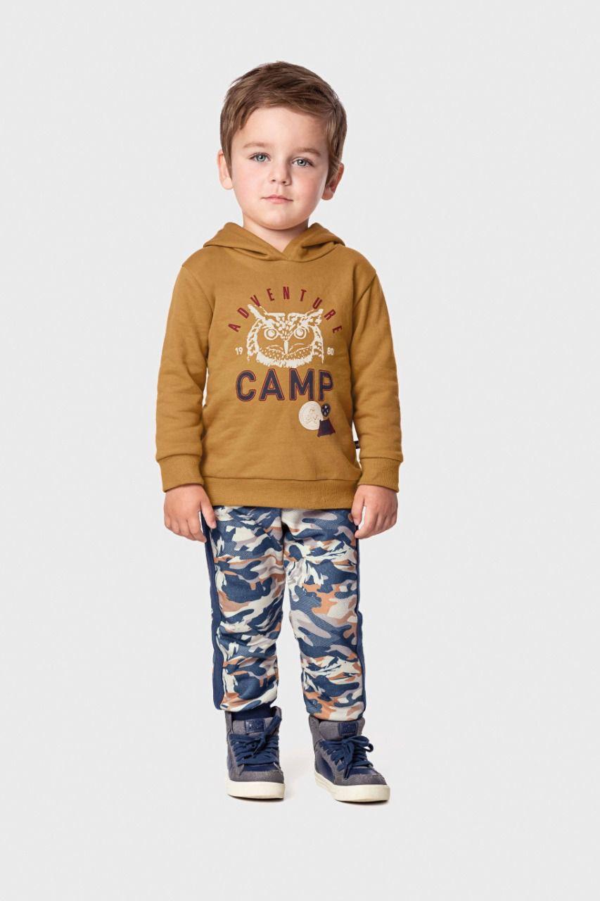 Conjunto infantil masculino em moletom camuflado Marlan