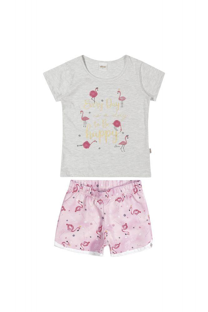 Conjunto infantil short e blusa Pelicano rosa Elian