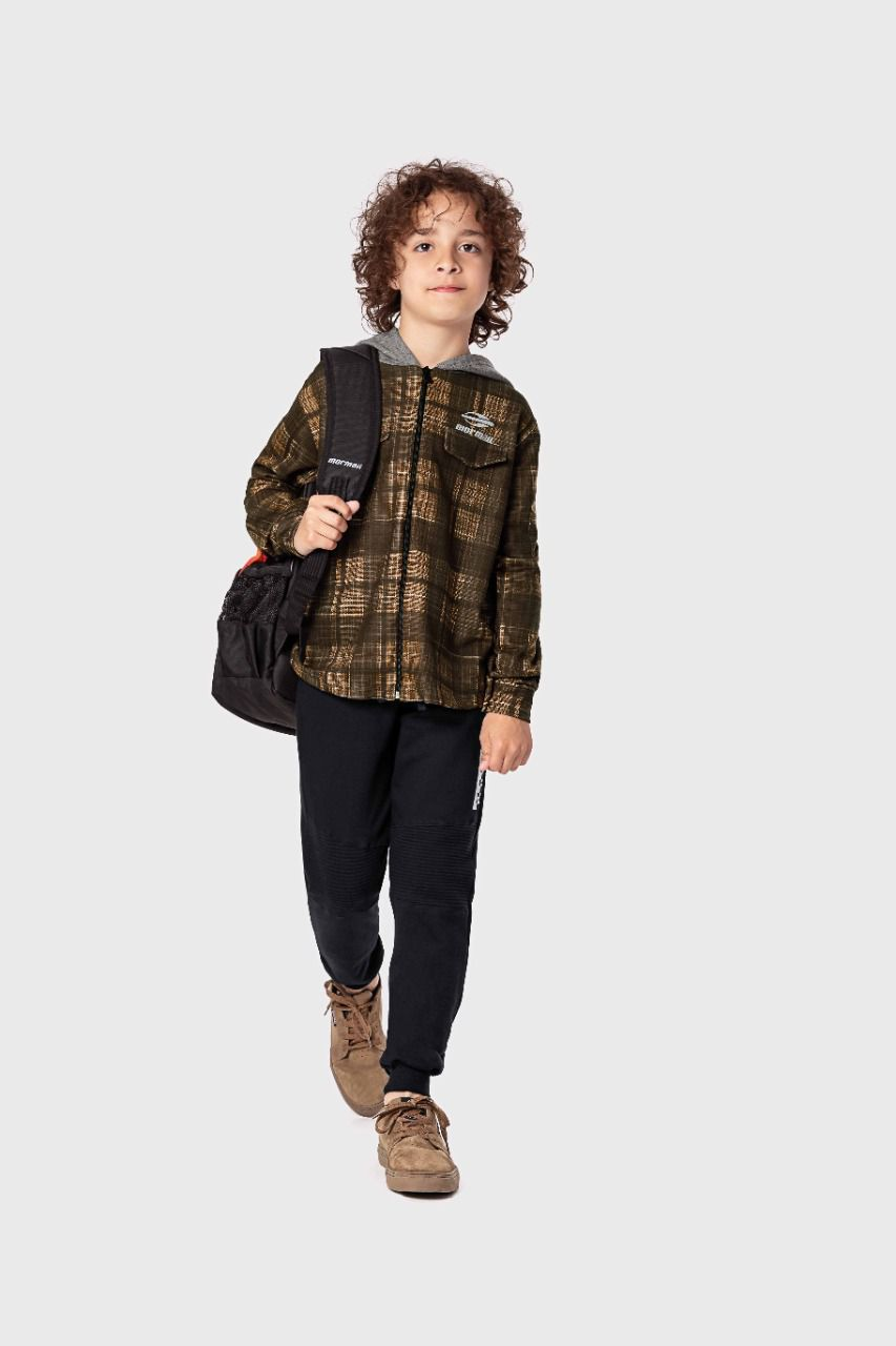 Jaqueta infantil masculina em molecotton Xadrez Mormaii