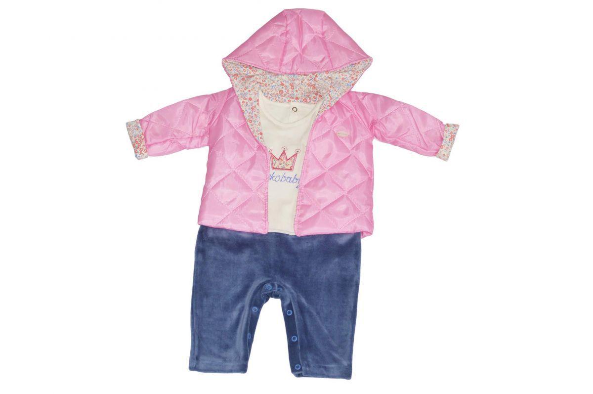 Macacão infantil feminino para bebê e casaco com capuz rosa Keko